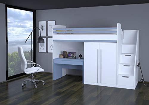 Polini City Hochbett Kombination mit Treppe Schrank Tisch weiß blau