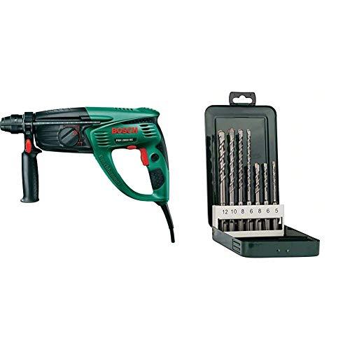 Bosch Bohrhammer PBH 2800 RE (Flachmeißel, Tiefenanschlag, Zusatzhandgriff, Koffer, 720 Watt) + Bosch DIY 7tlg. Hammerbohrer-Set SDS-plus