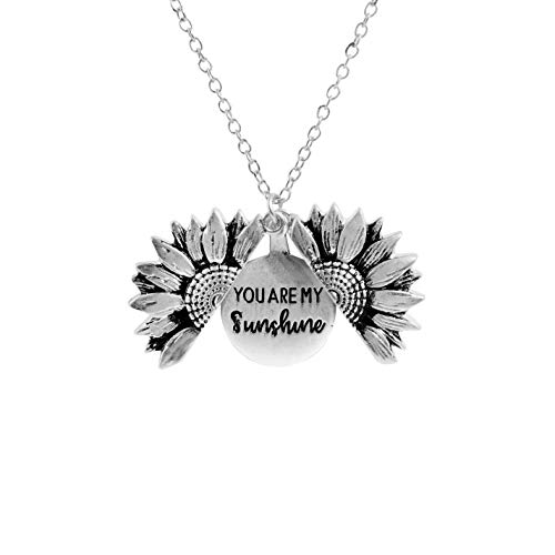 Sloong You are My Sunshine Inspiring Engraved Necklace Memorial hidden message Sunflower Locket Necklace (Silver Sunflower)