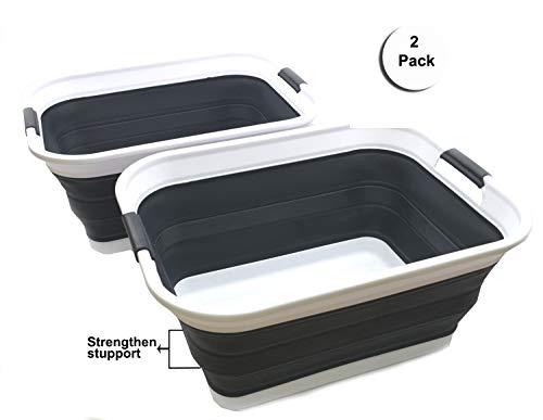 SAMMART Zusammenklappbarer Wäschekorb aus Kunststoff - Zusammenklappbarer Aufbewahrungsbehälter/Organizer - Tragbare Waschwanne - Platzsparender Korb/Korb (schwarz, 2)