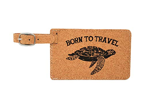 Doodle Gifts Cork Luggage Tag, Born to Travel (Pack of 2)