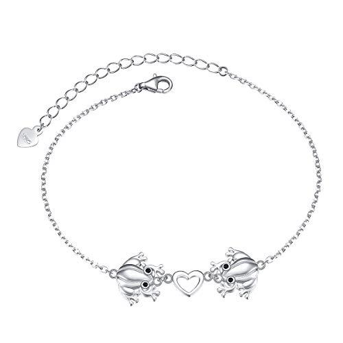 925 Sterling Silber Frosch Herz Armbänder für Damen Frauen Jugendliche Mädchen Einstellbare Tier Armband Schmuck 7 + 2 Zoll