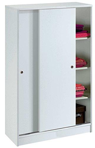 Armario Auxiliar Zapatero Multiusos Blanco Brillo de 2 Puertas correderas, estantes Regulables para Oficina, despensa, Cocina. 120cm Alto x 74cm Ancho x 33cm Fondo