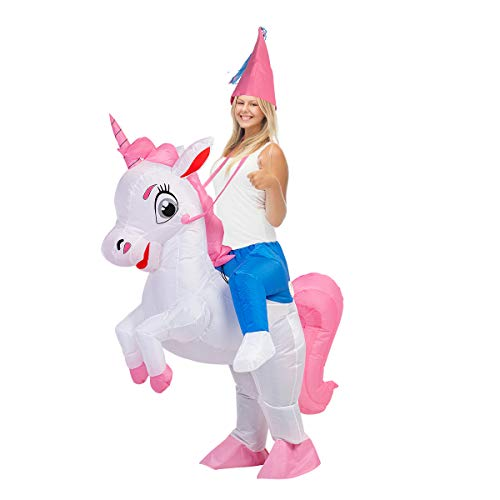 GOOSH 63 INCH Inflatable Costume for Adults, Halloween Costumes Men Women Unicorn Rider, Blow Up Costume for Unisex Godzilla Toy