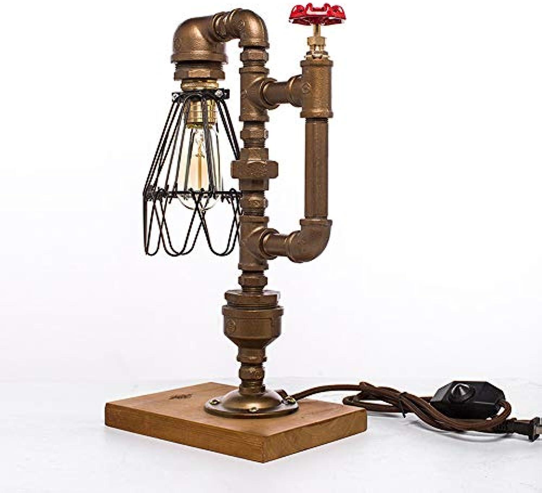 TDLIGHT Wasserrohr Tischlampe, Edison Dimmbare Tischleuchte, Retro Industrial Wind Pipe Schreibtischlampe