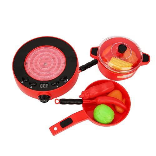 xiji Set di Giocattoli per elettrodomestici da Cucina, Supporto per fornello a induzione con Display Digitale, Resistente Piccolo e Delicato per i Bambini di casa(Rosso)