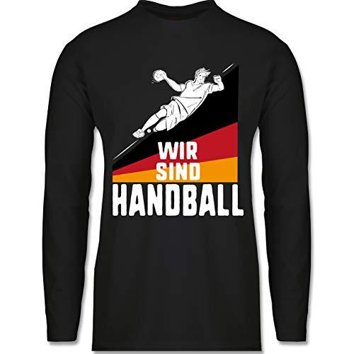 Shirtracer Handball WM 2021 - Wir sind Handball! Deutschland - L - Schwarz - Geschenk - BCTU005 - Herren Langarmshirt