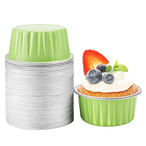 Aluminum Ramekins 5 oz, Beasea 50 Pack 3 Inch Muffin Liners Cups Disposable Ramekins Green Aluminum Foil Cups Mini Creme Brulee Muffin Cupcake Baking Cup Mini Pudding Cups for Party Wedding Birthday