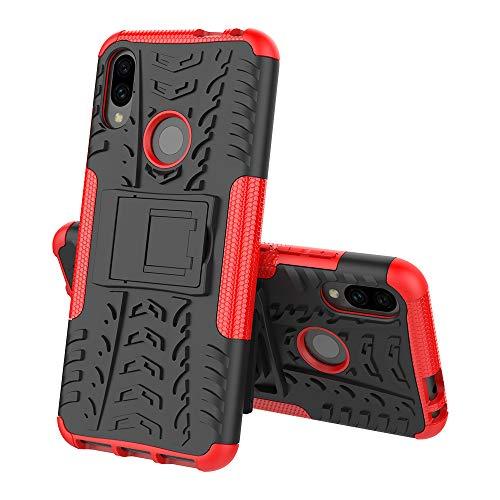 TOPOFU für Alcatel 3V (2019) hülle,2 in 1 TPU+PC schützender Zwei-Schichte Armor Design Tasche mit schlagfesten mit Ständer für Alcatel 3V (2019)-Rot