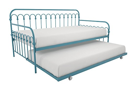 Novogratz Bright Pop Daybed with Trundle   Twin Size Frame in Teal color
