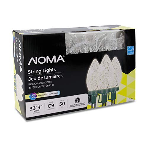 NOMA LED Christmas Lights | 50-Count C9 Clear Warm White Bulbs | 33' 3' String Light | UL Certified | Outdoor & Indoor
