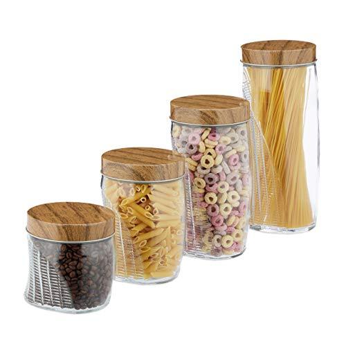 Relaxdays Vorratsgläser 4er Set, je 600, 1000, 1500, 2000 ml, für Müsli, Pasta, Reis, Schraubdeckel Metall, transparent