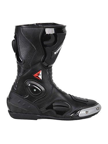 Bohmberg® Motorradstiefel, Sportstiefel aus Leder, Wasserabweisend aus stabilem Leder mit aufgesetzten Hartschalenprotektoren (43, Schwarz)