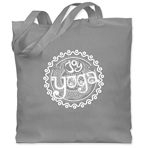 Shirtracer Wellness, Yoga & Co. - The joy of yoga - Unisize - Hellgrau - jutebeutel yoga - WM101 - Stoffbeutel aus Baumwolle Jutebeutel lange Henkel