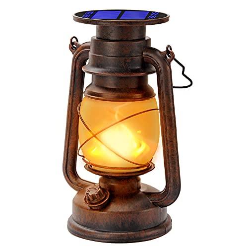 Vintage Solarlaterne Für außen Solar-LED-Sturmlampe Warmweiß Ultra Helle Dimmbare LED-Sturmleuchte Retro Design LED-Sturmlaterne Mit Flammen-Effekt Wasserdicht Für Außen,Garten,Camping