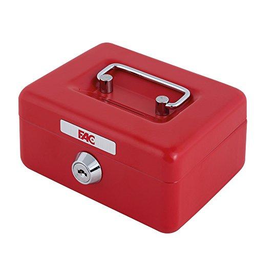 FAC 17017 - Mini cassetta di sicurezza con feritoia salvadanaio, numero 0, colore rosso