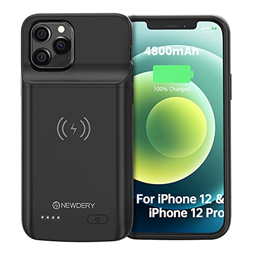 """NEWDERY Battery Case for iPhone 12/12 Pro 6.1"""", 4800mAh Portable Protective Backup Qi Wireless Charging Case for iPhone 12/12 Pro, Rechargeable Extended Battery Pack Charger Case-Black"""