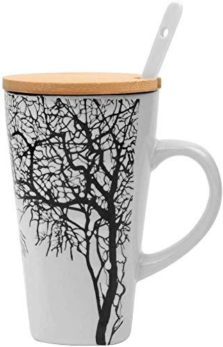 MUXUE Große Teetassen 500ml, Handgemachte Kaffee Tee Tassen mit Deckel und Löffel, Kreativer Keramik Teebecher als Geschenke für Freunden und Familien (Weiß)