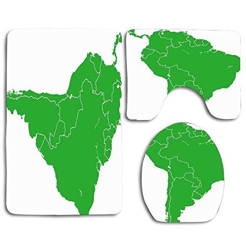 Kontinent Blaue Welt Südamerika Karte Chile Kolumbien Lateinamerika Argentinien Politisch 3-teilig Rutschfester Badteppich Set U-förmiger Kontur Teppich, Matte und Toilettendeckelabdeckung Neu