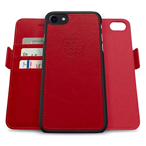 Dreem Fibonacci 2in1 Handyhülle Flipcase für iPhone SE(2) 8 7 | Magnetisches iPhone Case | TPU Etui Lederhülle Schutzhülle, RFID Schutz, Veganes Kunstleder, Geschenkbox | Rot