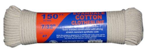 T.W Evans Cordage 43-076 7/32-Inch Evandale Cotton Clothesline 150-Feet Hank