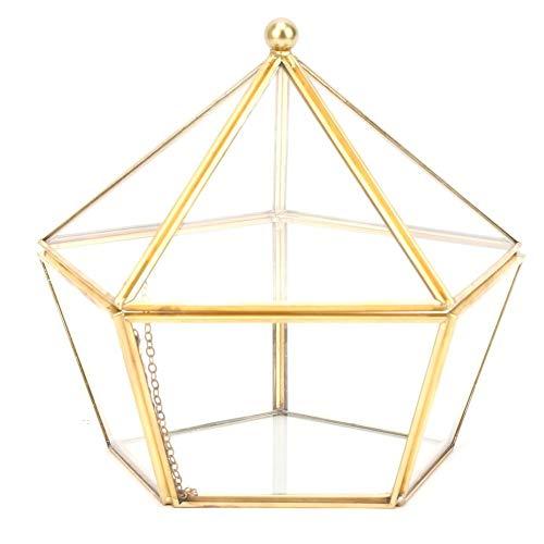 Contenedor de terrario geométrico de vidrio dorado Decoración moderna de mesa, maceta para plantas de aire de musgo de helecho suculento (sin plantas incluidas)