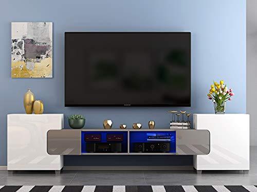 Meuble TV LED en MDF avec 4 Compartiments de Stockage + 2 Portes sur Salon et Chambre à Coucher, 230 x 35 x 53 cm (Gris+Blanc)