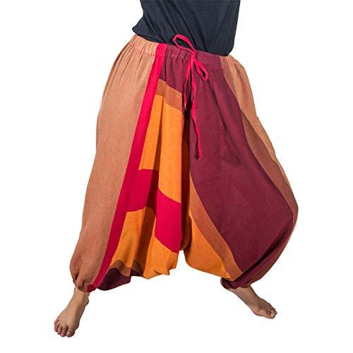 KUNST UND MAGIE Unisex Haremshose OneSize mehrfahrbig, Farbe:Rot/Orange, Größe:One Size