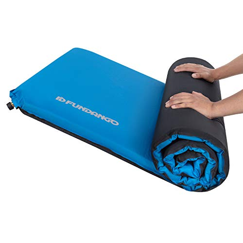 FUNDANGO XL Extra Wide 3' Thick Self Inflating Sleeping Pad, Large Foam Sleeping Pad Camping Mattress for Backpacking, Hiking (77.9 x 30 inches), Damp-Proof, Blue