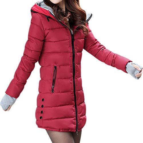 CNBOY Abrigos con Capucha de Mujer - Parka Chaquetas Largo Cálida y Gruesa Cazadoras Acolchada Talla Grande para Otoño Invierno (Vino Rojo, XL)