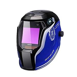 Welding Helmet Auto Darkening Solar Powered Professional Welding Mask (980E Blue) by DEKOPRO