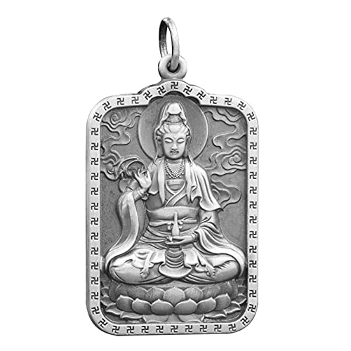 Dxnbp Buda Colgante Joyeria Collar Necklace Amuleto/Talisman Buddhist Collar Amuleto Budista para Mujeres Hombres 999plata Esterlina,Caja De Joyería