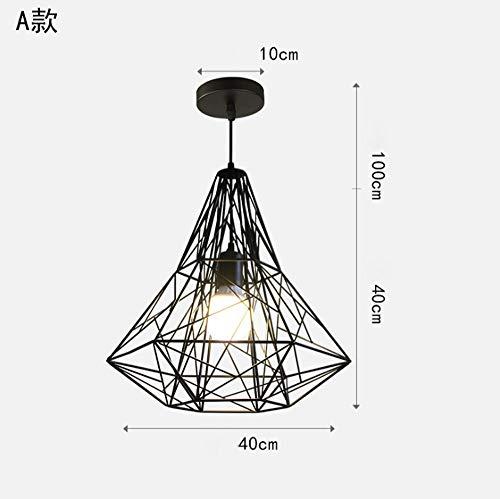 Lámpara de araña industrial lámpara de araña de hierro estilo Americano restaurante de diamantes creativos lámpara de día moderno LED niños dormitorio balcón iluminación lámpara colgante(40x40cm)