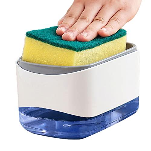 Nordun Distributeur de Savon Liquide avec Porte-éponge 2 en 1,Distributeur Liquide Vaisselle,Distributeur de Pompe à Main en Plastique pour Évier de Cuisine