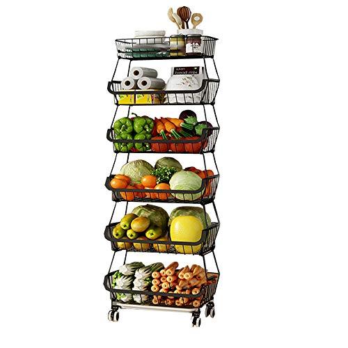 TristonSong Fruit Storage Basket, 6 Tier Rolling Stackable Vegetable Fruit Basket Utility Cart Rack, Storage Organizer Bin for Kitchen, Pantry Closet, Bedroom, Bathroom-6 tier black