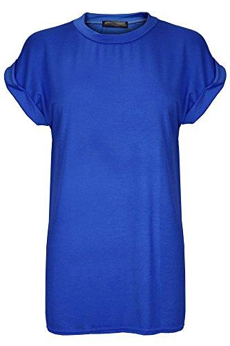 T-shirt voor dames - topje - baggy-stijl/oversized pasvorm/ruimvallend/lang - ronde hals met boord/omgeslagen mouwen/vleermuismouwen - plus size