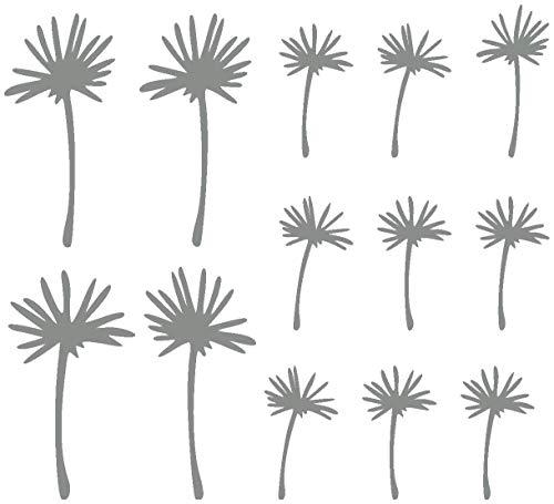 Samunshi® Pusteblume Schirmchen Wandtattoo in 5 Größen & 19 Farben (4mal11cm+9mal7cm Mittelgrau)