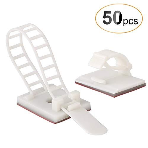 50 Stück Kabel-Clips, Kabelklemme Set Management Kabelbefestigung Drahthalter mit Klebstoff Gesicherte Unterlage, (25 Verstellbare Kabelhalter + 25 Kabel Clips) von AGPTEK, weiß