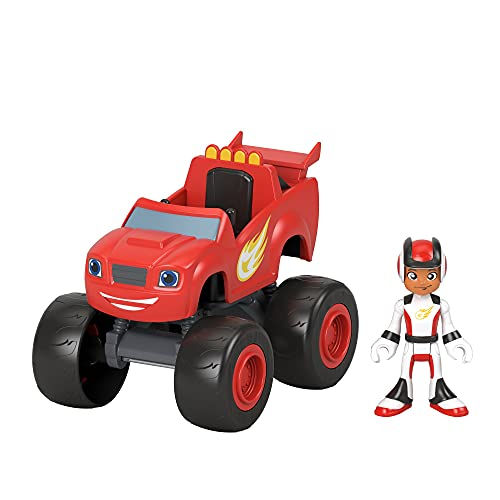 Fisher-Price Blaze and the Monster Machines Blaze & AJ, Large Push-Along Monster Truck with Poseable...