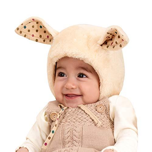 WFF Sombrero Felpa de la Novedad Sombrero Animal 2 en 1 Beanie con una función de Orejeras, Bufanda del Sombrero de los niños Gorro de puntogorra (Color : 48cm/18.8iin 6-12 Months)