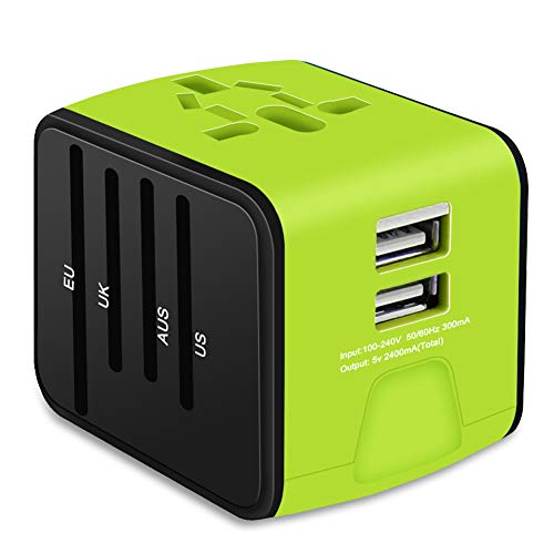 Universal Travel Adapter, VOGTEL All-in-one International Power Adapter 2.4A Dual USB, European Adapter Travel Power Adapter Wall Charger UK, EU, AU, Asia Covers 150+Countries (Green)