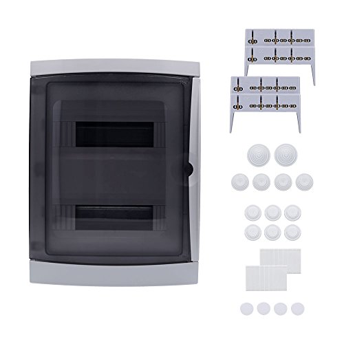 Preisvergleich Produktbild Aufputz Feuchtraum Verteiler 2-reihig IP65 26 Module Verteilerkasten Kleinverteiler Sicherungskasten,  Tür transparent