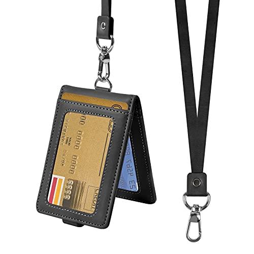 smatime Fundas de Tarjeta de Identificación con Cordón de Cuello Tarjetero de Cuero PU Colgantes de Tarjetas Titular de la Insignia Porta Credenciales Soporte Billetera para Tarjeta Crédito Bus, Negro
