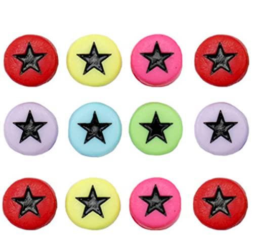 Sadingo Juego de 500 cuentas de estrella multicolor de 7 mm, para manualidades infantiles, mezcla de perlas, pulseras de estrellas