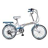 MYERZI Absorción de Impacto Bicicleta Plegable Bicicleta Unisex 16 Pulgadas pequeña Rueda Bicicleta portátil 7 Velocidad Bicicleta (Color: Verde, tamaño: 150 * 30 * 65 cm)