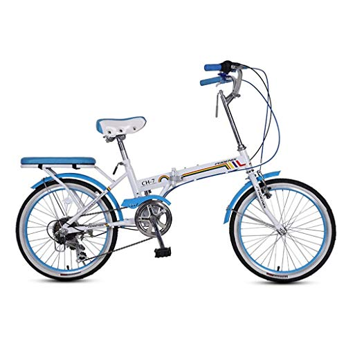 Chenbz Bicicleta Plegable Bicicleta Unisex 16 Pulgadas pequeña Rueda Bicicleta portátil 7 Velocidad Bicicleta (Color: Verde, tamaño: 150 * 30 * 65 cm)