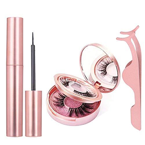 Magnetischer Eyeliner und Magnetische Wimpern Set, Magnetischer Eyeliner für Magnetische Wimpern, 2 Paar Wiederverwendbare Wimpern