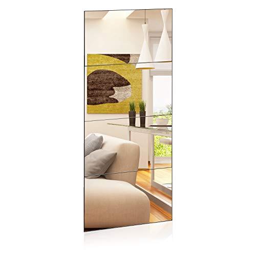 1000 MIRROWS® Azulejos de espejo, 40 x 60 cm, espejo de pared de 160 cm, espejo de cuerpo entero, espejo de baño rectangular, autoadhesivo