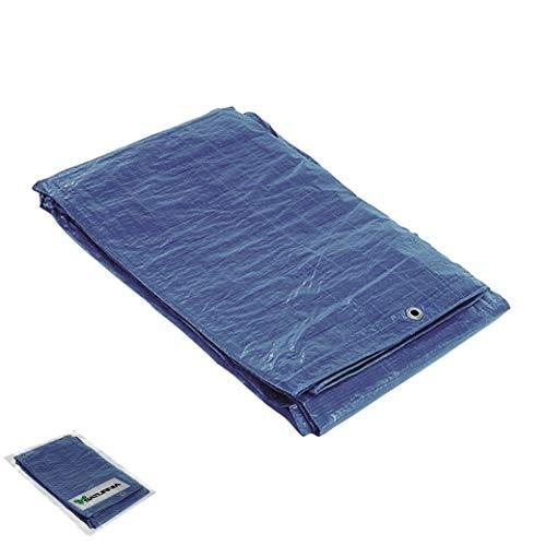 SATURNIA 15070020 Lona Impermeable Reforzada 5x8 (Aproximadamente) con Ojetes Metálicos, Lona de Protección Duradera, Color Azul, 5 x 8 metros