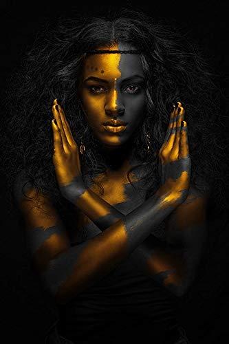 DERFV Pinturas al óleo de Mujeres africanas de Oro Negro sobre Lienzo, Carteles y Grabados, Pinturas murales escandinavas